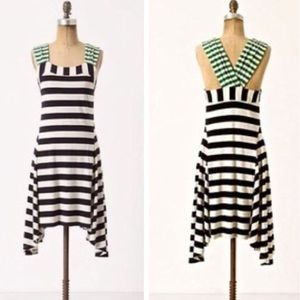 Anthropologie HWR Monogram Split Stripe Dress